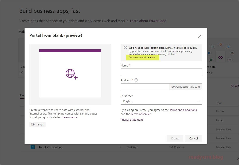 PowerApps Portals Quick Start – ReadyXRM
