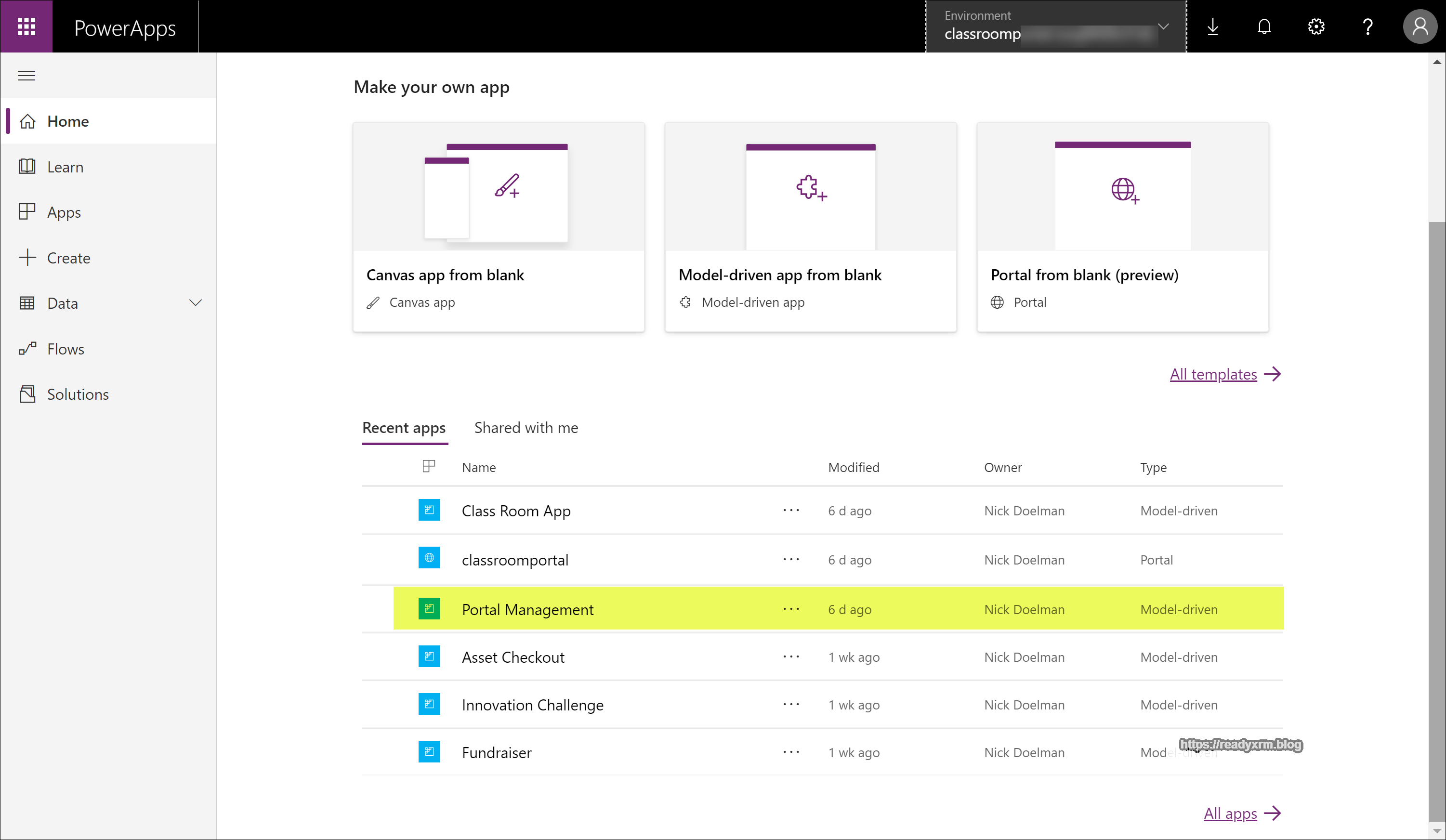 Overview of the PowerApps Portals Management App – ReadyXRM